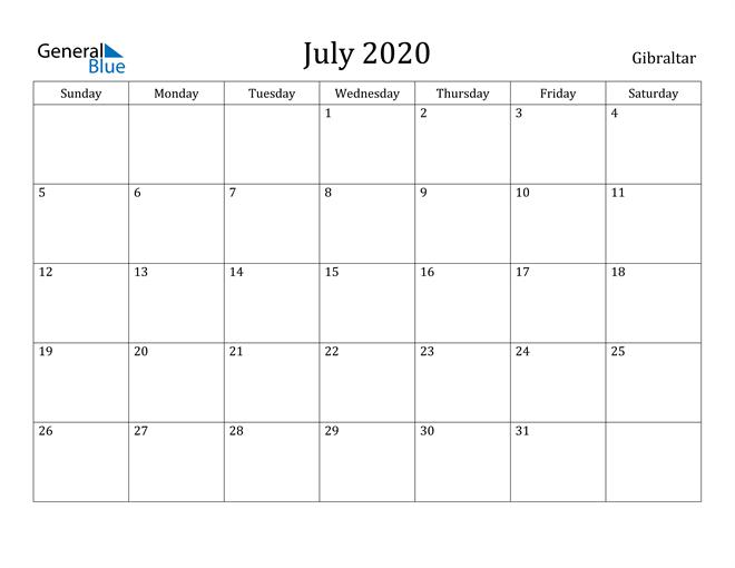 Image of July 2020 Gibraltar Calendar with Holidays Calendar