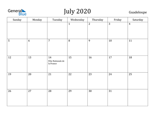 Image of July 2020 Guadeloupe Calendar with Holidays Calendar