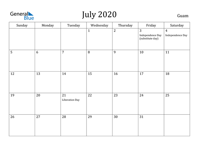 Image of July 2020 Guam Calendar with Holidays Calendar