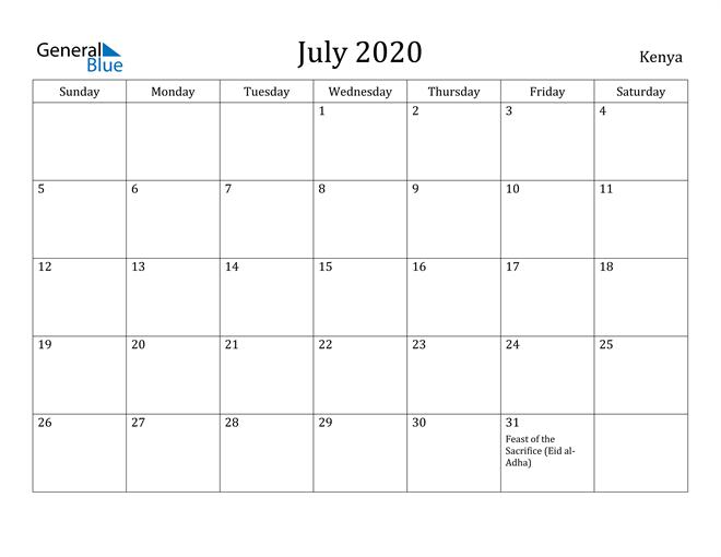 Image of July 2020 Kenya Calendar with Holidays Calendar