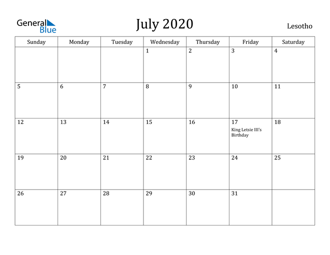 Image of July 2020 Lesotho Calendar with Holidays Calendar
