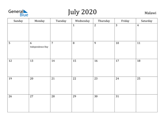 Image of July 2020 Malawi Calendar with Holidays Calendar