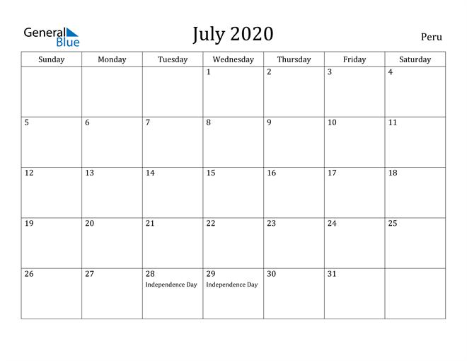 Image of July 2020 Peru Calendar with Holidays Calendar