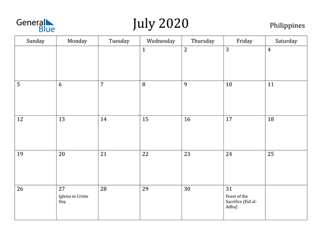 Image of July 2020 Philippines Calendar with Holidays Calendar