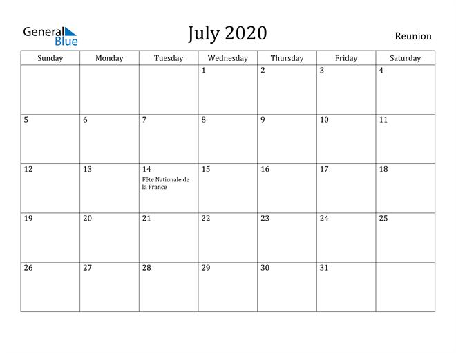 Image of July 2020 Reunion Calendar with Holidays Calendar