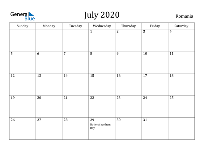Image of July 2020 Romania Calendar with Holidays Calendar
