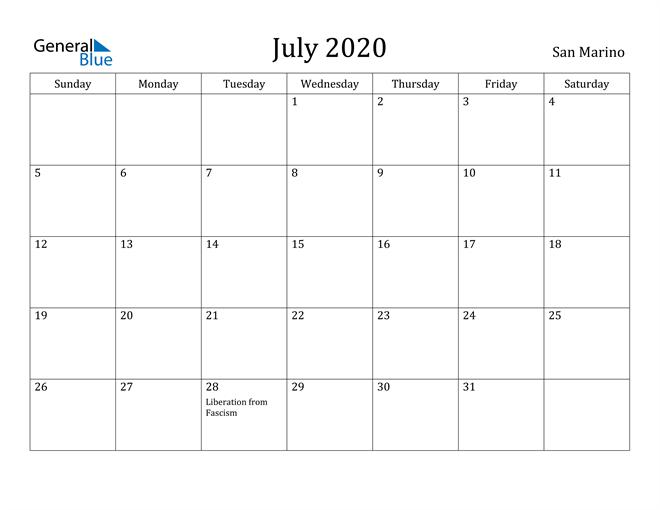 Image of July 2020 San Marino Calendar with Holidays Calendar