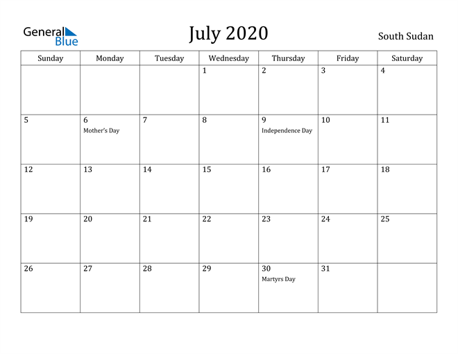 Image of July 2020 South Sudan Calendar with Holidays Calendar