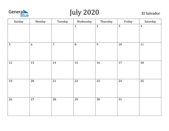 Image of July 2020 El Salvador Calendar with Holidays Calendar