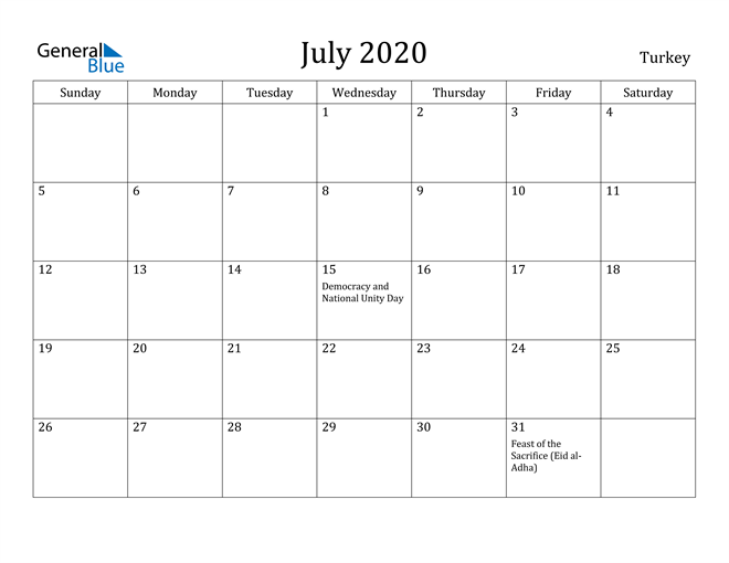 Image of July 2020 Turkey Calendar with Holidays Calendar