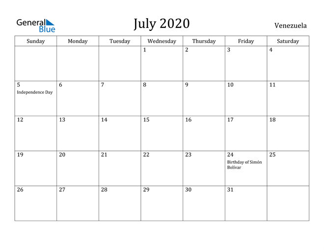 Image of July 2020 Venezuela Calendar with Holidays Calendar
