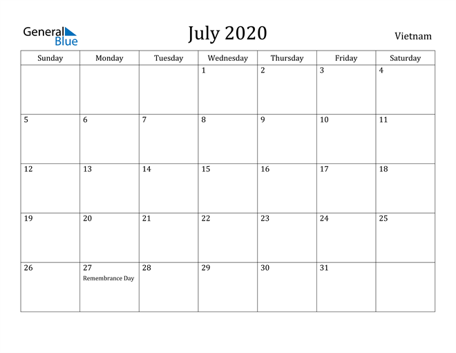 Image of July 2020 Vietnam Calendar with Holidays Calendar
