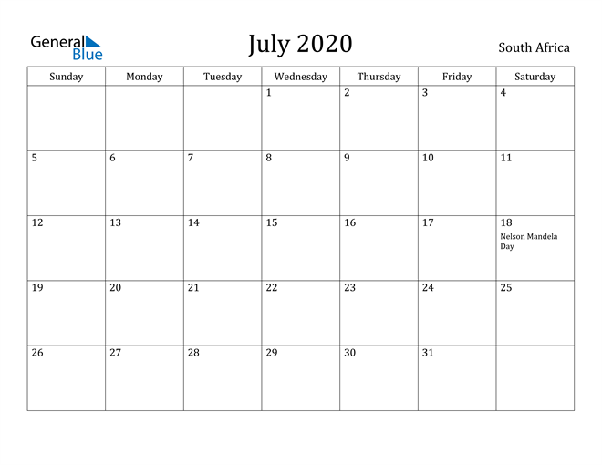 Image of July 2020 South Africa Calendar with Holidays Calendar