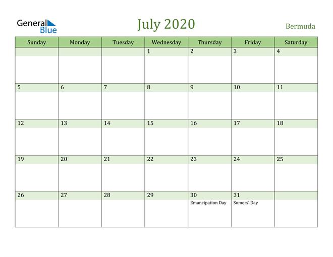 July 2020 Calendar with Bermuda Holidays