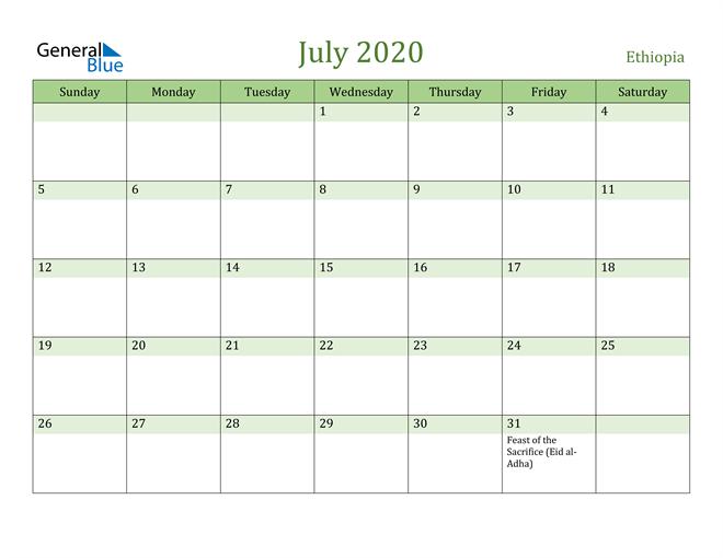 July 2020 Calendar with Ethiopia Holidays