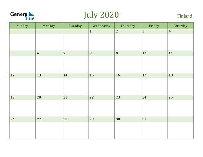 July 2020 Cool and Relaxing Green Calendar Calendar