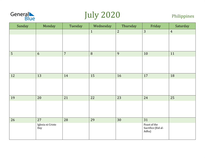 July 2020 Calendar with Philippines Holidays