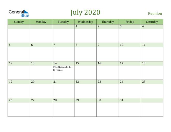 July 2020 Calendar with Reunion Holidays