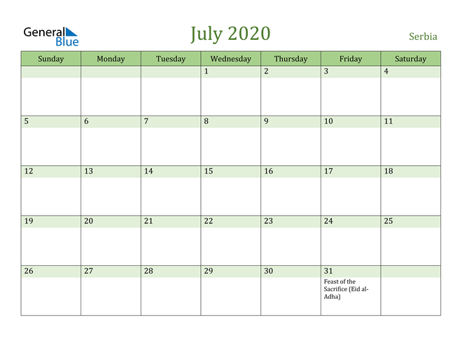 Image of July 2020 Cool and Relaxing Green Calendar Calendar