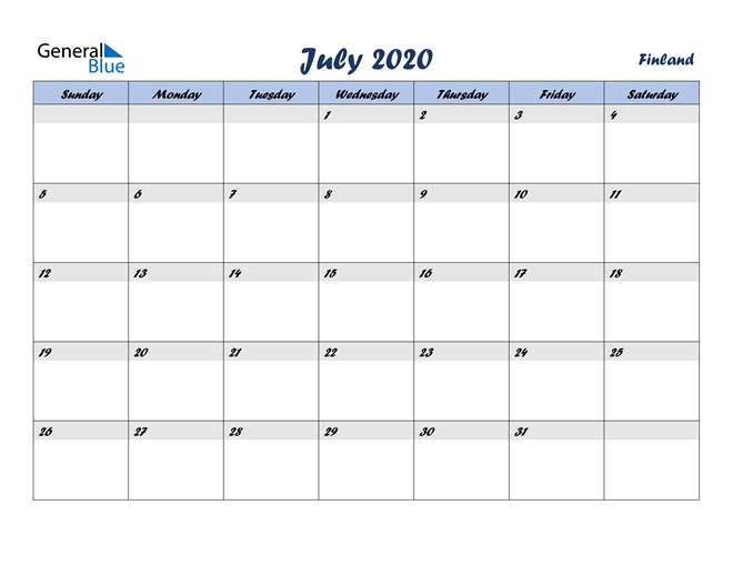 July 2020 Italicized and Cool Blue, A Fun Calendar in PDF, Word and Excel Calendar