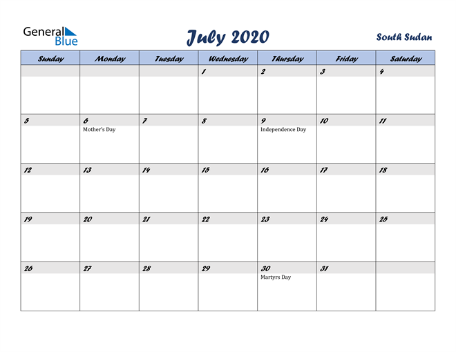 Image of July 2020 Italicized and Cool Blue, A Fun Calendar in PDF, Word and Excel Calendar