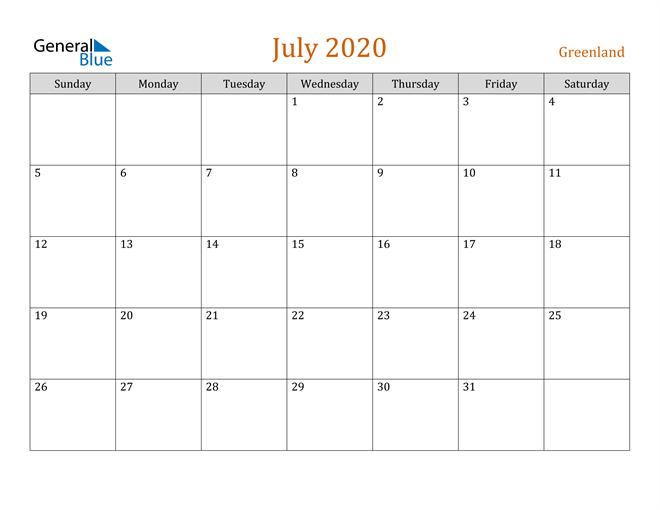 Image of July 2020 Contemporary Orange PDF, Word and Excel Calendar Calendar