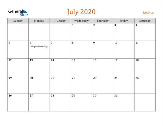 Image of July 2020 Contemporary Orange PDF, Word and Excel Calendar Calendar
