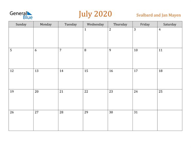 July 2020 Holiday Calendar