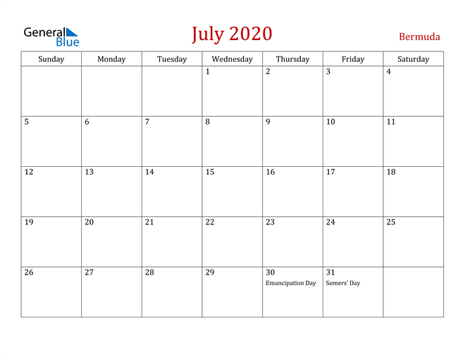 Bermuda July 2020 Calendar
