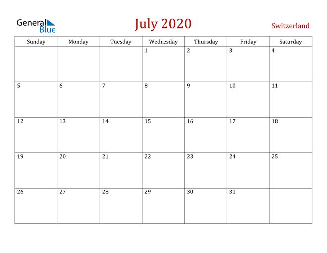 Switzerland July 2020 Calendar