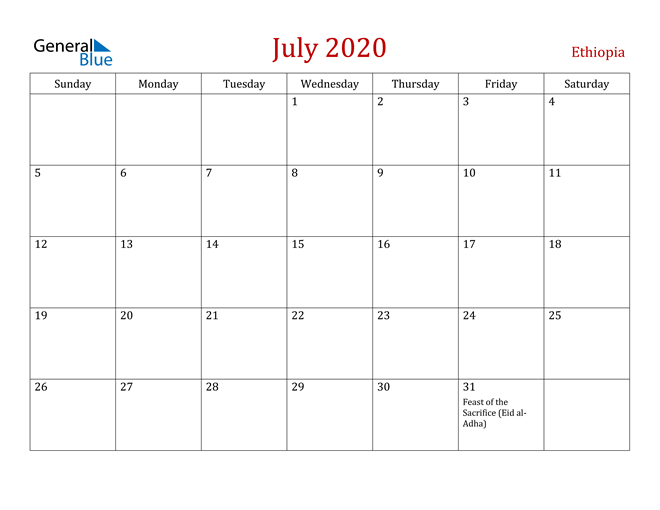 Ethiopia July 2020 Calendar