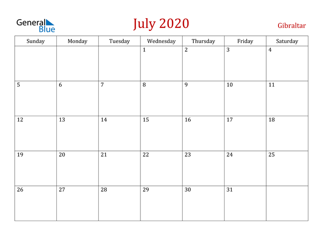 Gibraltar July 2020 Calendar