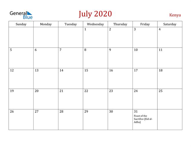 Kenya July 2020 Calendar