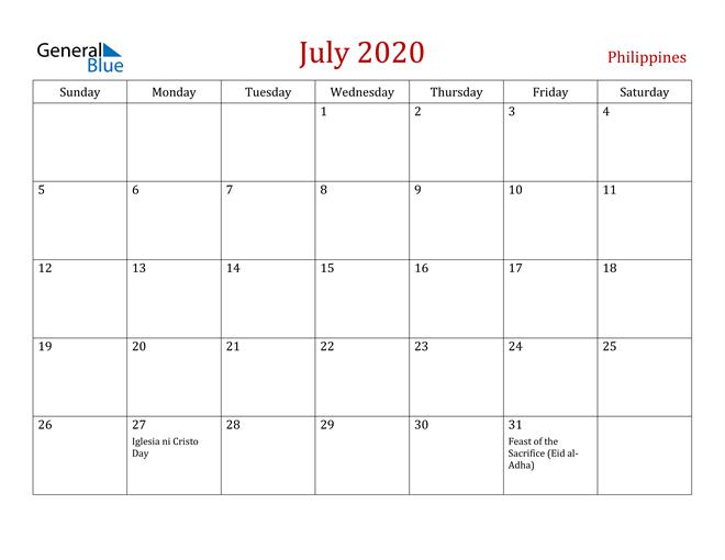 Philippines July 2020 Calendar