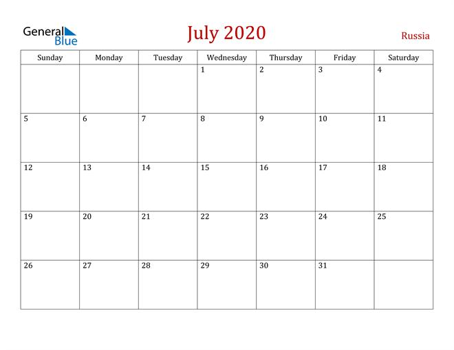 Russia July 2020 Calendar
