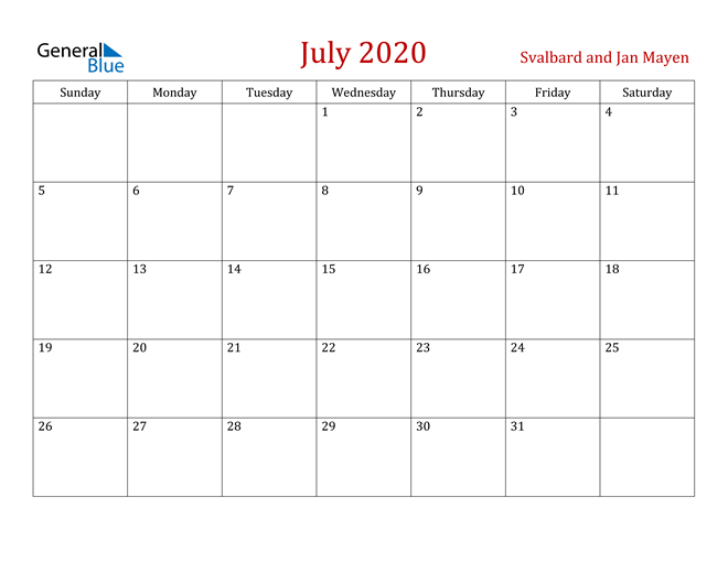 Svalbard and Jan Mayen July 2020 Calendar