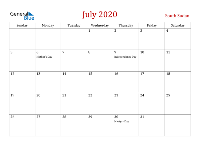 Image of July 2020 Dark and Red Professional Office Calendar Calendar