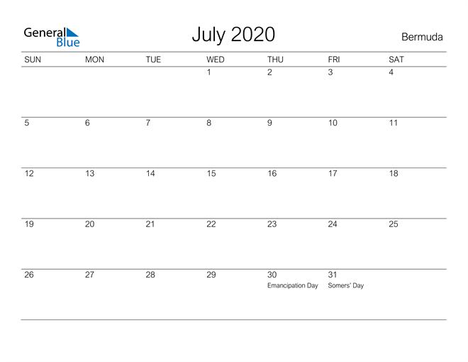 Printable July 2020 Calendar for Bermuda
