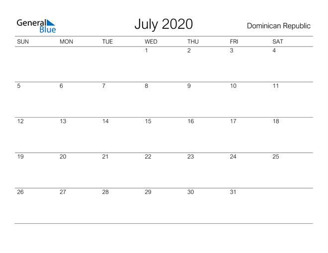 Image of July 2020 A Streamlined Design, The Perfect Printable Calendar. Calendar