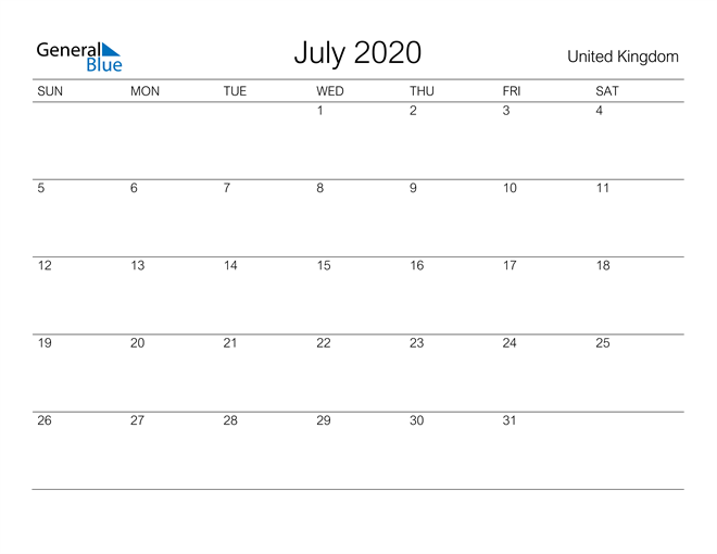 Image of July 2020 A Streamlined Design, The Perfect Printable Calendar. Calendar