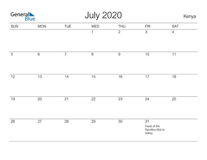 Printable July 2020 Calendar for Kenya