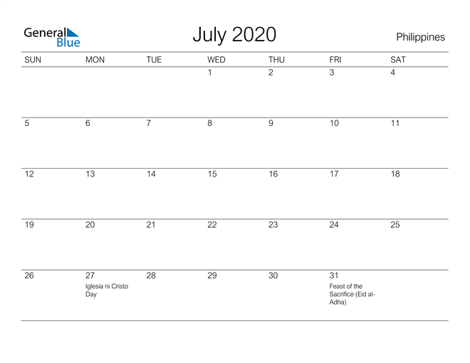 Printable July 2020 Calendar for Philippines