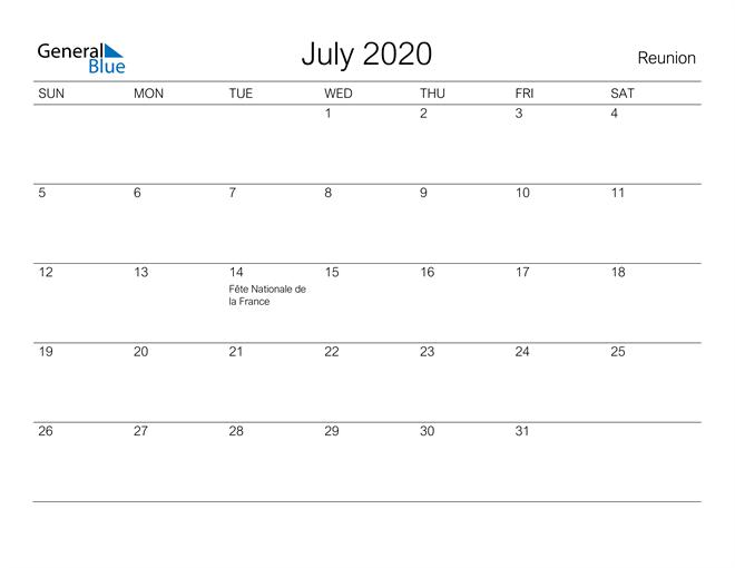 Printable July 2020 Calendar for Reunion