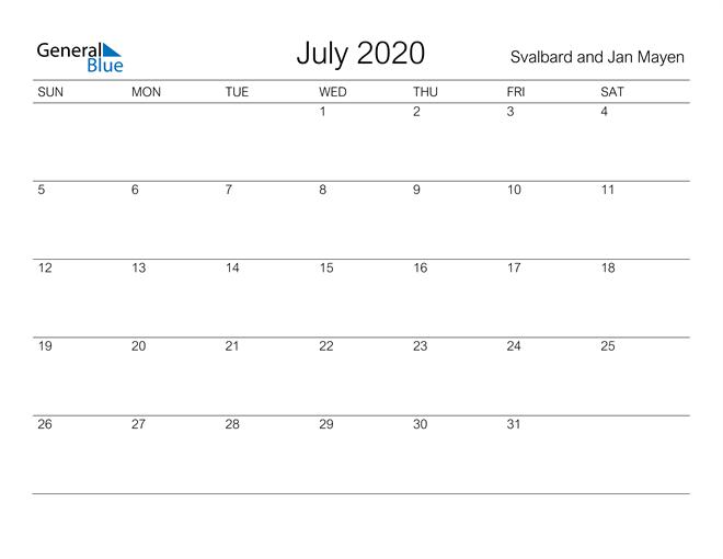 Printable July 2020 Calendar for Svalbard and Jan Mayen