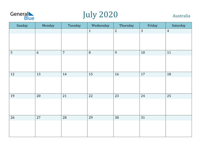 Image of July 2020 Colorful Turquoise Calendar in PDF, Word and Excel Calendar