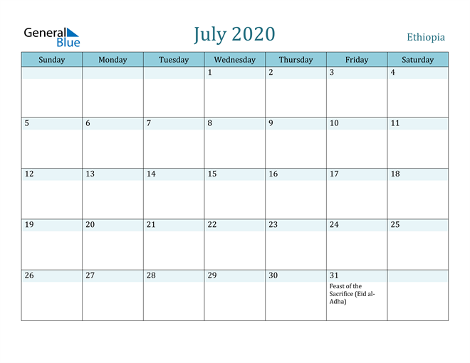 July 2020 Calendar with Holidays in PDF, Word, and Excel