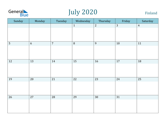 July 2020 Colorful Turquoise Calendar in PDF, Word and Excel Calendar
