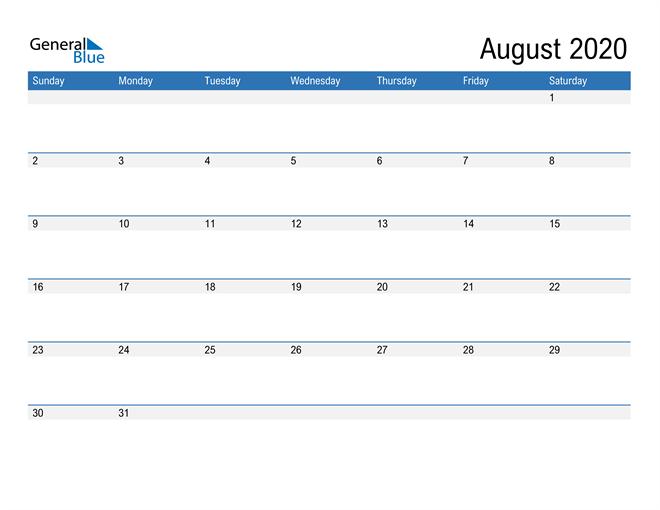 Fillable Calendar for August 2020