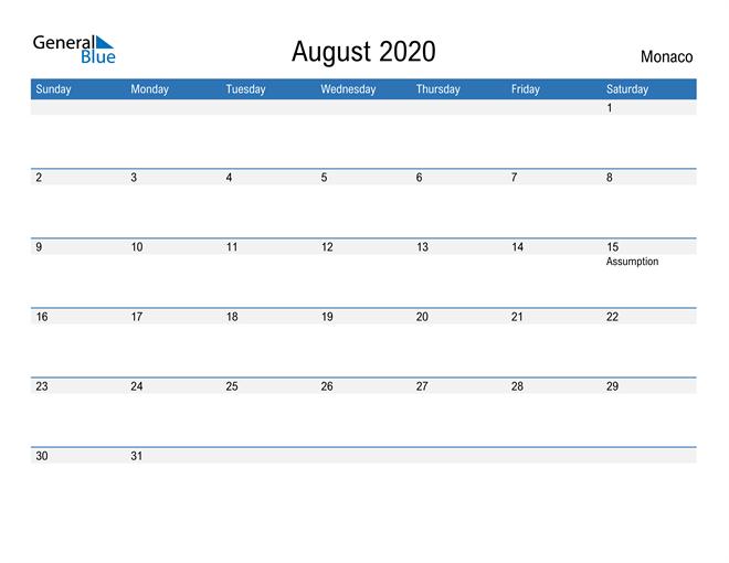 Fillable August 2020 Calendar
