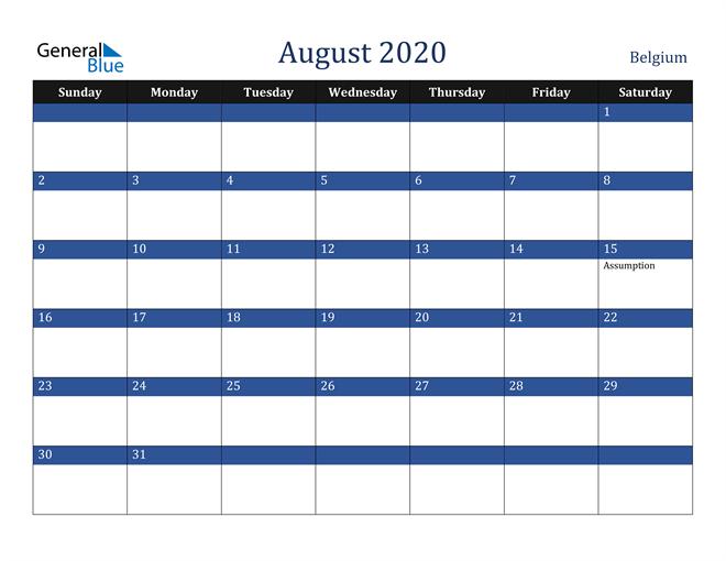 August 2020 Stylish Dark Blue Calendar in PDF, Word and Excel Calendar